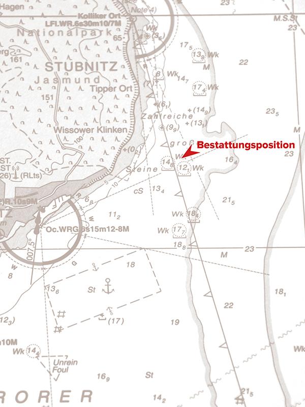 Bestattungskarte von Seebestattung Rügen mit Bestattungsposition